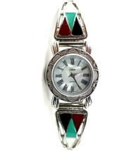 Vintage Collezio Zuni Enamel Inlay Watch Tested 7 - 8in Wrist Silver Tone Band - $59.99