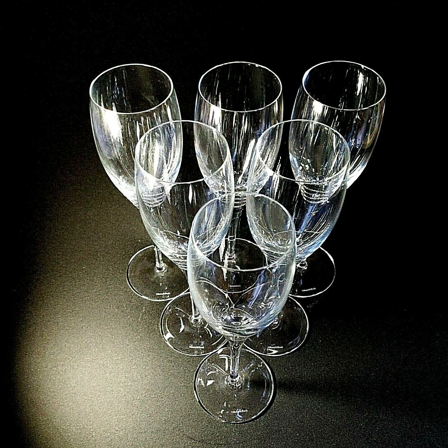 6 (Six) VILLEROY & BOCH TORINO Hand Blown Crystal Champagne Flutes D/C -Signed image 2