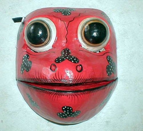 "Mask Frog Bali Great for your Wall or your Face about 8"" Handmade wood carving"