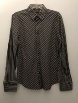 Express Mens Dress Shirt Size M 15 - 15.5 Collared Button Up Gray with s... - $11.64