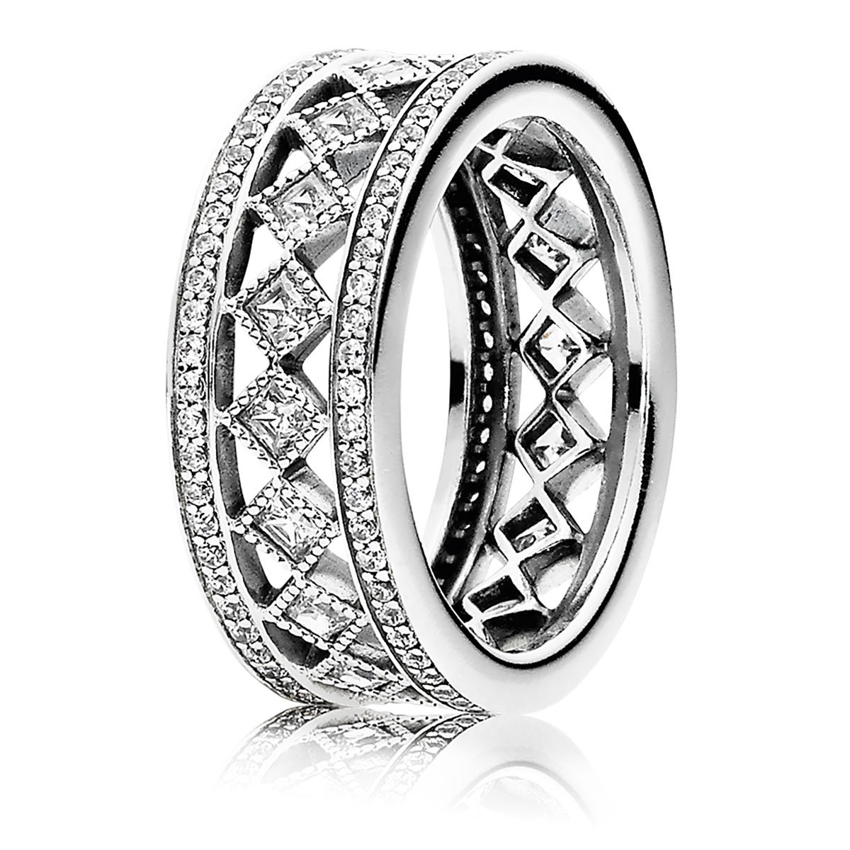 Primary image for 925 Sterling Silver Vintage Fascination with Clear CZ Ring For Women QJCB1021