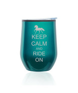 Stemless Wine Tumbler Coffee Travel Mug Glass Cup w/ Lid Keep Calm Ride ... - $14.99