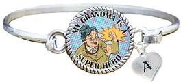 My Grandma is Super Hero Comic Look Silver Cuff Bracelet Jewelry Choose Initial - $14.24