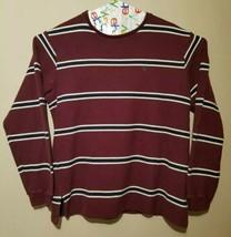 Vintage Polo Ralph Lauren Striped Knit Crewneck Sweatshirt Men XL Burgundy USA - $29.05