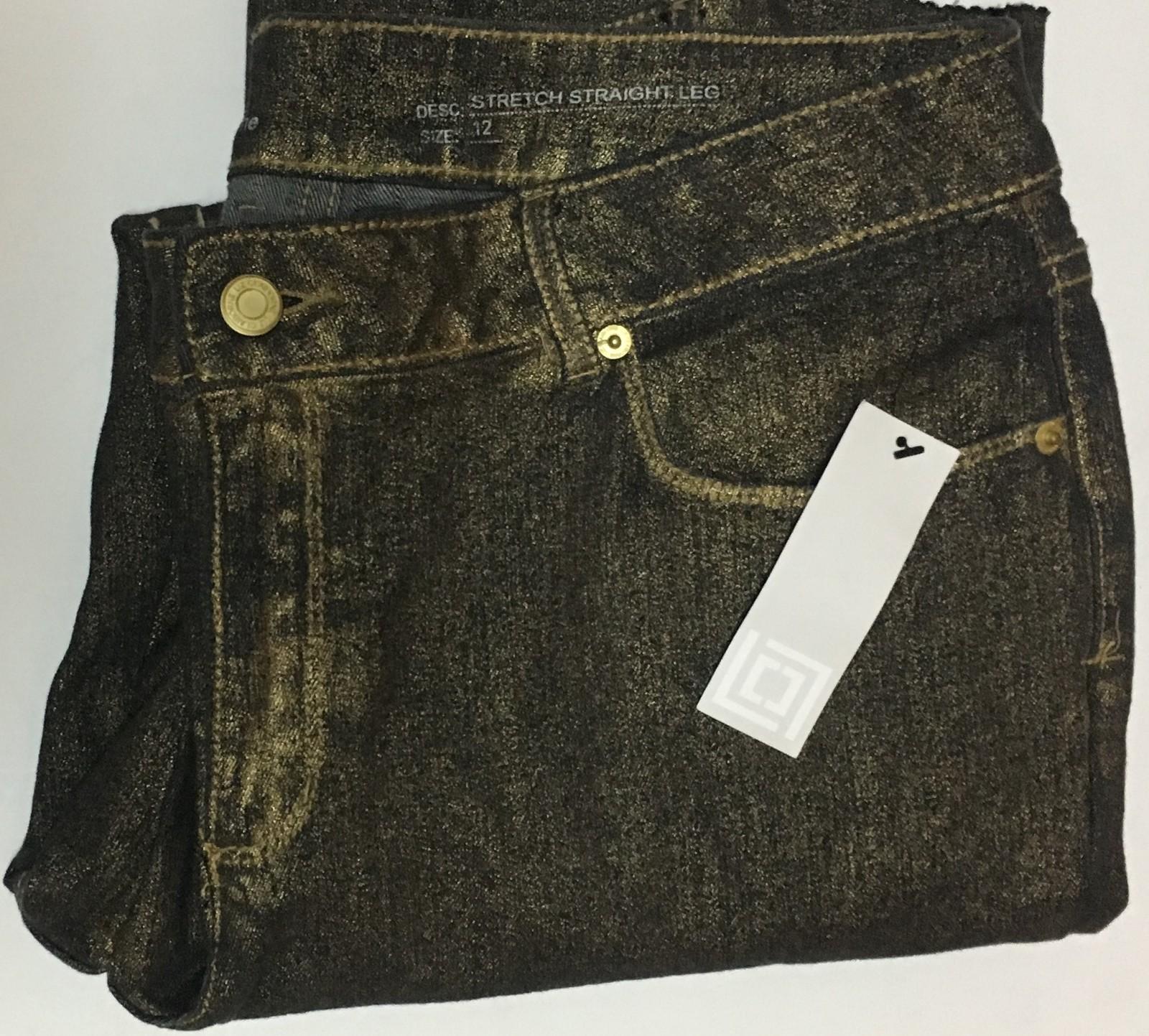 Liz Claiborne Jeans Stretch Straight Leg Sz 12 Black w/Gold Fleck