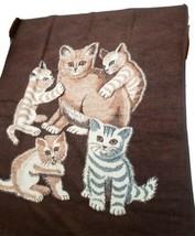 Vintage Biederlack Reversible Cat Kittens  SOFT 55 x 76 Blanket Virgin A... - $47.51