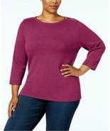 $49.50 Karen Scott Plus Size Cotton Zip-Shoulder Sweater, Magenta Moon, 3X - $11.14