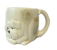 Fitz and Floyd Dog Mug 1979 Ceramic Japan Raised Design Hand Painted Vin... - $22.28