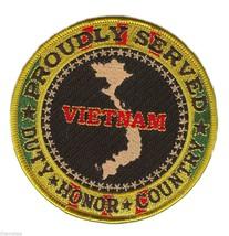 "VIETNAM WAR VETERAN  PROUDLY SERVED BLACK RIBBON  4"" EMBROIDERED MILITAR... - $18.04"