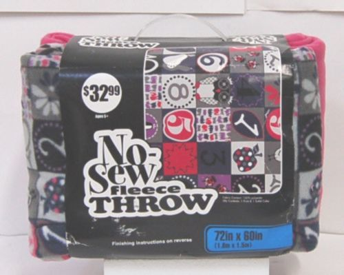 No Sew 11499704 Fleece Throw Kit Number One 72 by 60 Inches
