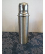 Vintage Thermos 1900's Silver Ribbed w/Orig. Cup & Cork Stopper - $94.16
