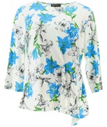 DG2 Diane Gilman Liquid Jersey Printed Pleat Side Top Blue Lily S NEW 68... - $37.60