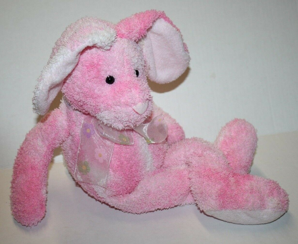 "Primary image for Russ Berrie EASTER BUNNY RABBIT 18"" Pink Tie Dye Stuffed Plush 62061 Flower Bow"