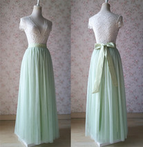 Floor Length Full Tulle Skirt Bridesmaid Long Tulle Skirt Back-bow Pastel Green  image 1