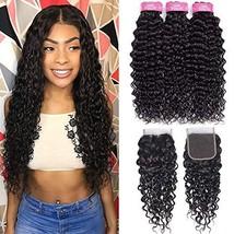 FQ Brazilian Water Wave Human Hair 3 Bundles with Closure20 22 24+18 Closure Fre