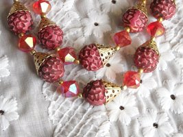 Vintage Two Strand Necklace & Earrings Aurora Borealis Plastic Beads Rasberry image 2