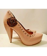 Samanta Neutral Pink Leather Closed- Toe High Heels for Women, Size 8.5 - $18.70