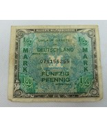 1944 Germany Alliierte Militarbehorde 1/2 Mark Military Banknote Paper M... - $15.00