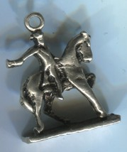 Charm: Vintage 3D Silver Faceless Silver Paul Revere On Horse - $22.50