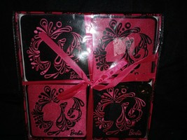 Mattel Barbie Hot Pink Black Embroidered Coasters NEW IN BOX - $14.84