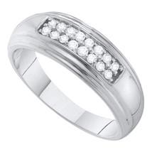 10K White Gold Round 2-Row Diamond Mens Wedding Anniversary Ring Band 1/... - $500.00