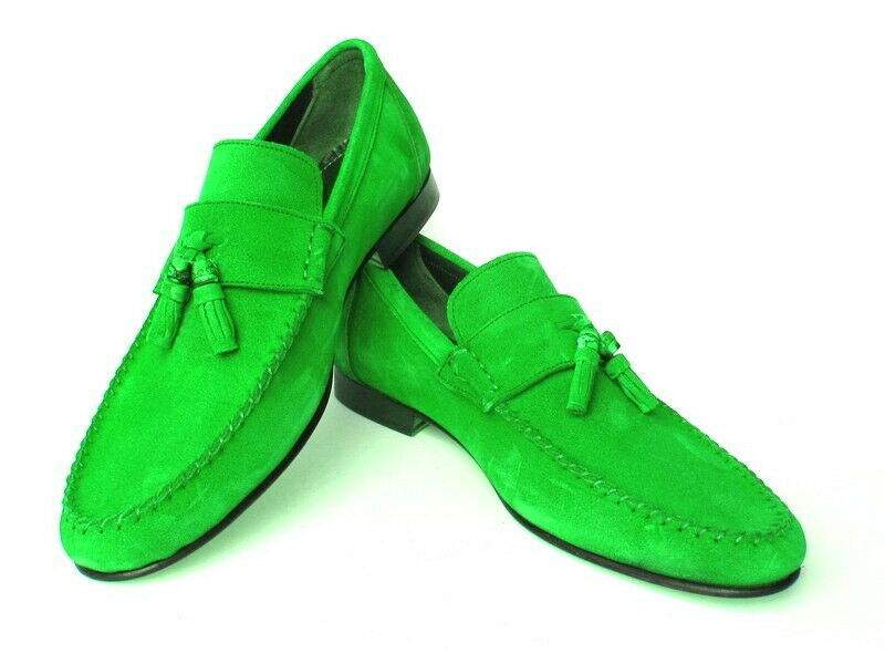 Suede Green Tone Leather Apron Toe Tassel Loafer Slip Ons Handcrafted Men Shoes