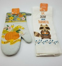 Kitchen Oven Mit & Dish Towel- Eat, Drink and be Thankful! Raccoon. Fall... - $11.59