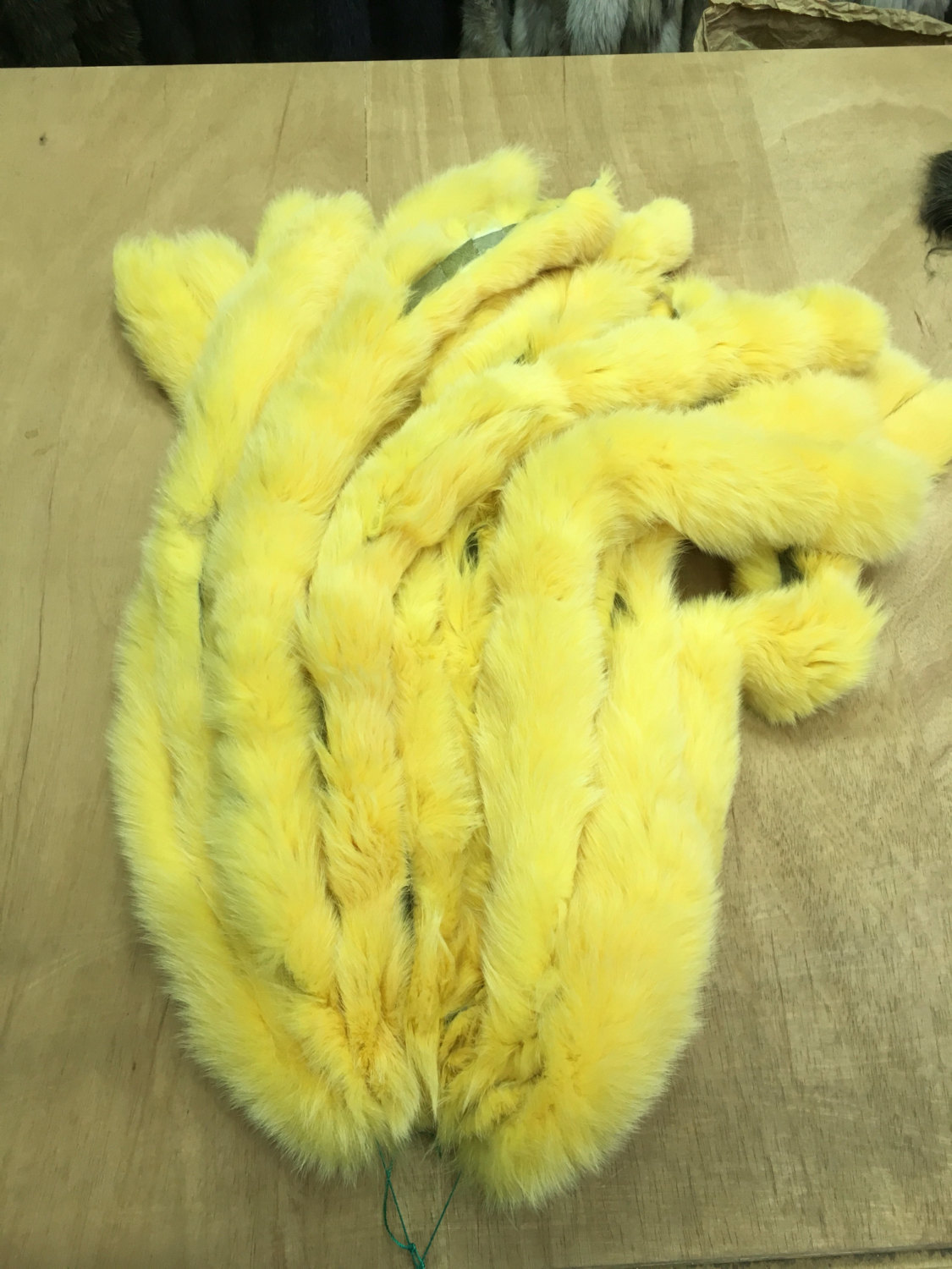 Yellow Fox Fur Stripes Trim