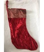 Burgundy Red Velour Stocking With Glitter Gold Brocade Ribbon Trim - $12.95