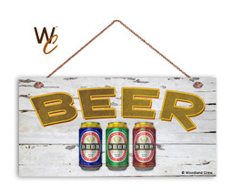 BEER Sign, Retro Summer Party Sign, Gift For Dad, BBQ Party 5x10 Wood Sign - $11.39