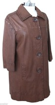 VINCE Jacket Coat Brown Leather Long  3/4 Sleeves Collar Sz L - $185.25