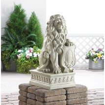 Stately Lion Garden Statue with Paw on Shield  - $120.95