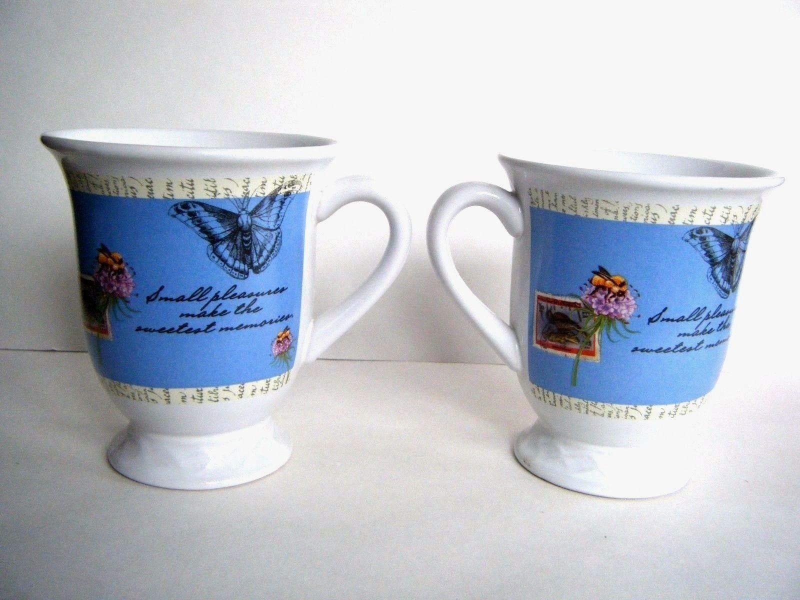 Houston Harvest Coffee Mugs Butterflies Bees Birds Flowers Blue Background 2 Pc