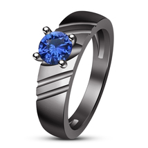 Black Gold Finish 925 Silver Round Cut Blue Sapphire Solitaire Engagemen... - ₨5,155.81 INR
