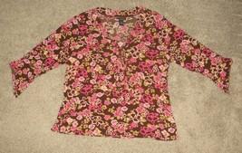 EUC Lane Bryant Brown Pink Flower Floral Top Shirt Size 18/20 18 20 - $2.99