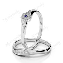 Flower Style Bridal Ring Set Round Cut Diamond 14k White Gold Plated 925... - $121.99