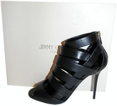 $990 Jimmy Choo Black Leather Open Toe Damsen Sandal Strappy Gladiator 4... - $365.00