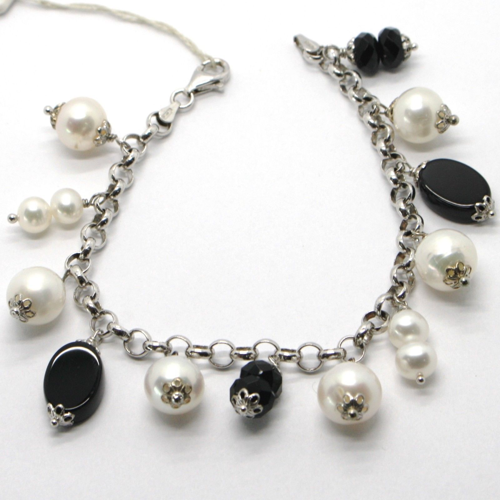 925 STERLING SILVER BRACELET WITH OVAL BLACK ONYX WHITE PEARLS PENDANT, CHARMS