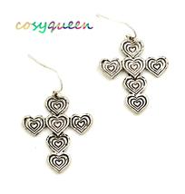 Women new pewter love hearts link cross drop pierced earrings - ₹1,295.56 INR
