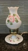 Vintage LAMP Franciscan Desert Rose on White Milk Glass - Boudoir Lamp - $49.50
