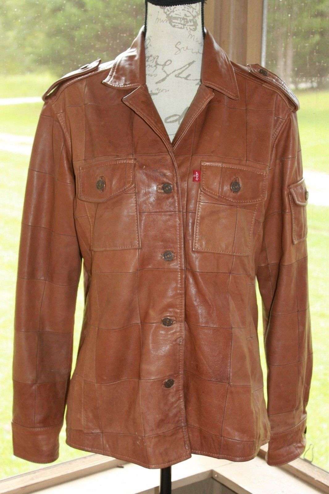 Primary image for Levi's Size Large Dry Goods Caramel Brown Leather Vintage Women's Jacket (BJ)