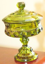 """KINGS CROWN COVERED CANDY DISH PEDESTAL FOOTED COMPOTE 7.75""""H OLIVE GREE... - $29.99"""