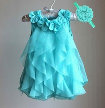 Girls Chiffon Party Infant 1 Year Birthday Baby Clothes & Headband Vestidos - $19.68
