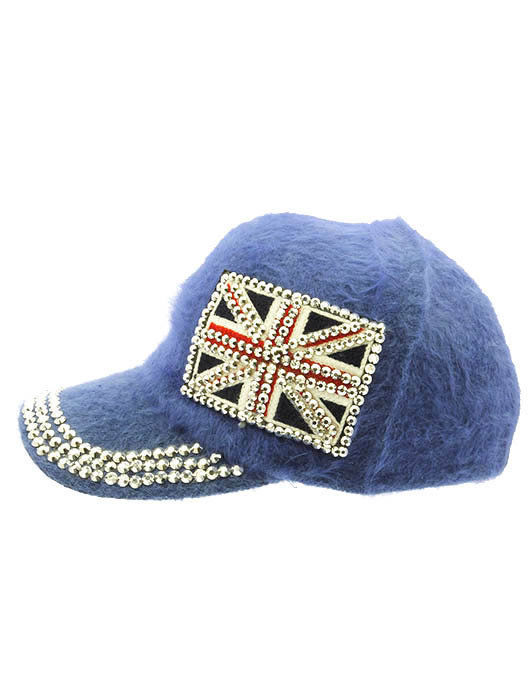 British Flag Soft Furry Hat Metallic Stud Bling Great Britain Union ... b91c40b676a6