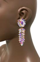 "3.75"" Long Clip On Earrings Aurora Borealis Rhinestones Drag Queen Pageant - $21.38"