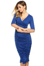 Fashion Women's V Neck Half Sleeve Ruffle Tail Long Dress Evening Dress ... - $20.00