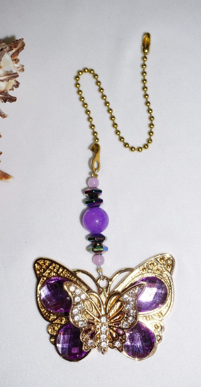 Crystal Butterfly, Purple and Gold, Ceiling Fan Pull, Home Decor, Butterfly Gift