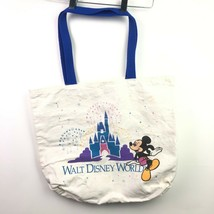 VTG Walt Disney World Tote Bag Mickey Mouse Castle Tan Canvas Multicolor 80s 90s - $19.79