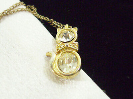 CZ Kitty Cat Pendant Cubic Zirconia Necklace Gold Plated Figural Sparkle... - $17.33