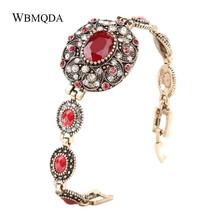 Hot 2018 Bohemian Doubai Gold Bracelet Luxury Red Crystal Flower For Women - $24.00